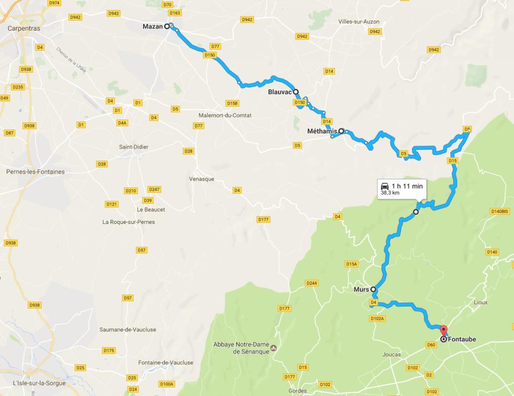 Carte itinéraire Vaucluse Méthamis Murs
